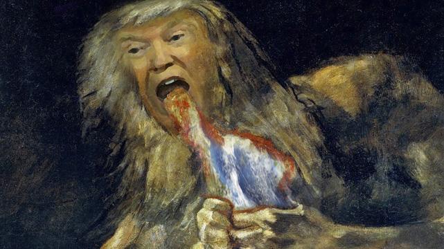 Alimentación poco saludable… Trump devorando a sus hijos.